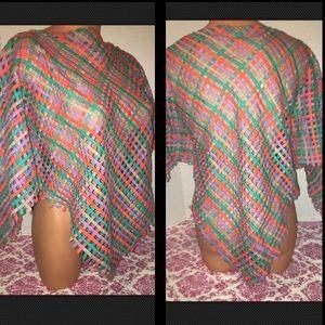 Handmade Braided Crocheted Poncho Shawl Top